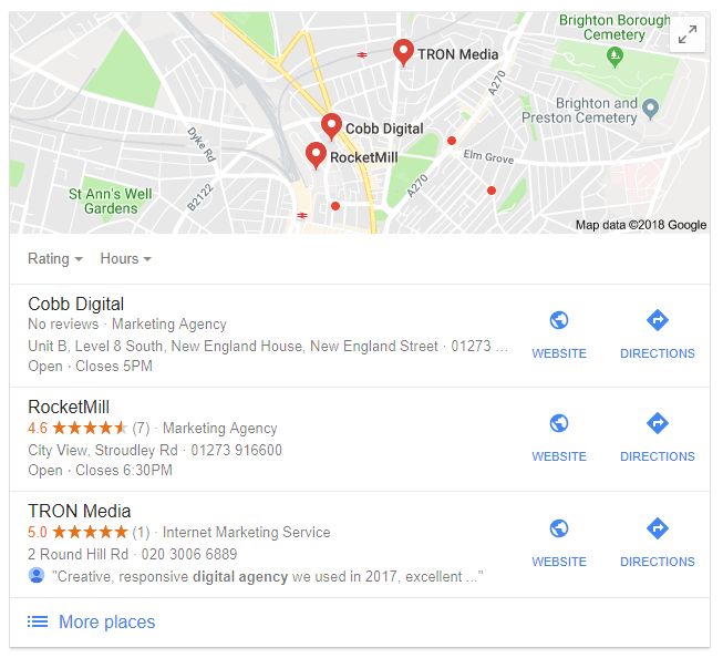 Google Map Pack Example | TRON Media